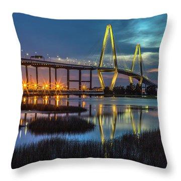Ravenel Bridge Reflection Throw Pillow