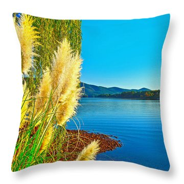 Ravenna Grass Smith Mountain Lake Throw Pillow