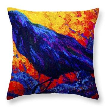 Raven's Echo Throw Pillow
