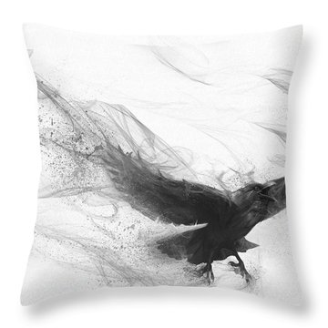 Throw Pillow featuring the digital art Raven's Flight by Steve Goad