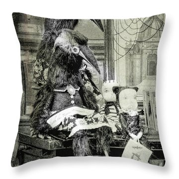 Ravens For Halloween Throw Pillow