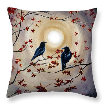 Ravens In Autumn Throw Pillow by Laura Iverson