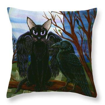 Raven's Moon Black Cat Crow Throw Pillow