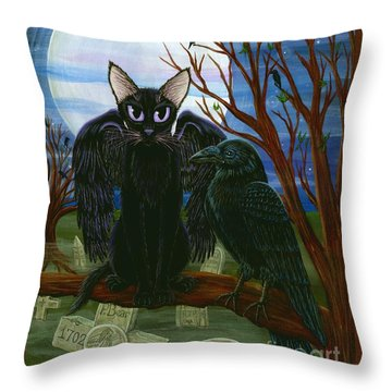 Throw Pillow featuring the painting Raven's Moon Black Cat Crow by Carrie Hawks