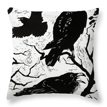 Ravens Throw Pillow by Nat Morley