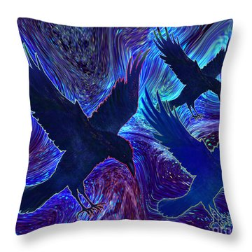 Ravens On Blue Throw Pillow