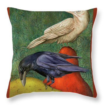 Throw Pillow featuring the painting Ravens On Pears by Leah Saulnier The Painting Maniac