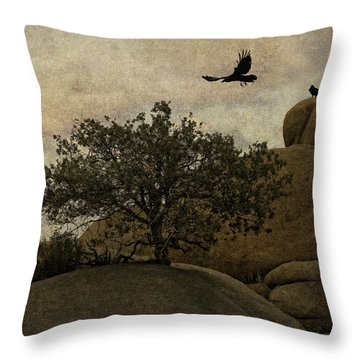 Ravens Searching For Food Throw Pillow