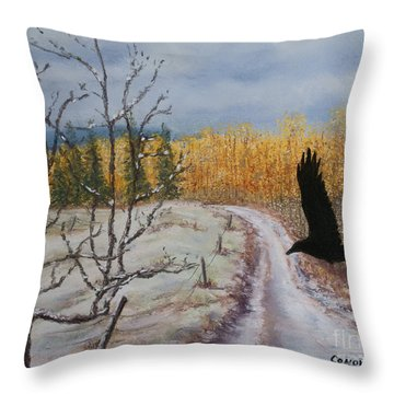 Raven's Thoughts Turned Throw Pillow
