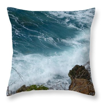 Raw Blue Power Throw Pillow by Margaret Brooks