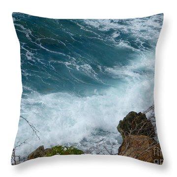 Raw Blue Power Throw Pillow
