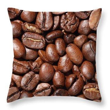 Raw Coffee Beans Background Throw Pillow
