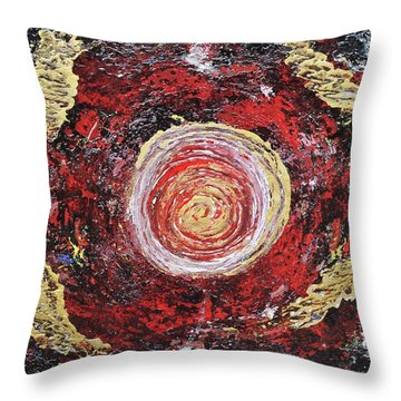 Raw Harmony Red And Gold Art Throw Pillow