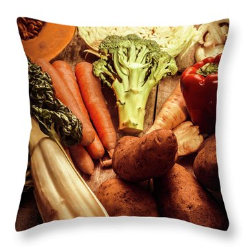 Raw Vegetables On Wooden Background Throw Pillow by Jorgo Photography - Wall Art Gallery