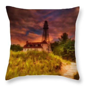 Rawley Point Lighthouse Throw Pillow by Joel Witmeyer