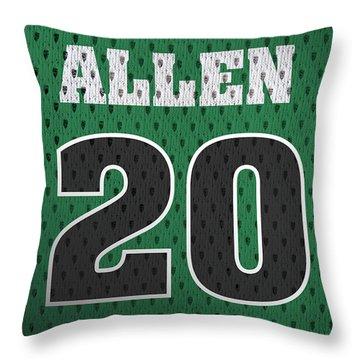 Ray Allen Boston Celtics Retro Vintage Jersey Closeup Graphic Design Throw Pillow