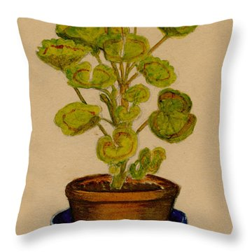 Throw Pillow featuring the painting Ray-bet Geranium by Betty Hammant