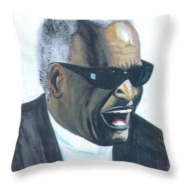 Throw Pillow featuring the painting Ray Charles by Emmanuel Baliyanga