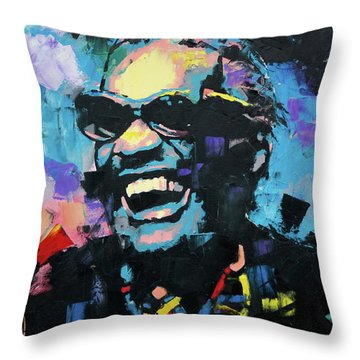Throw Pillow featuring the painting Ray Charles by Richard Day