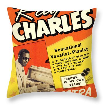 Ray Charles Rock N Roll Concert Poster 1950s Throw Pillow