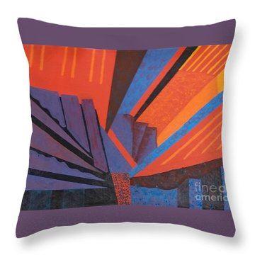 Rays Floor Cloth Throw Pillow by Judith Espinoza