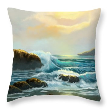 Rays Of Light Throw Pillow by Sena Wilson