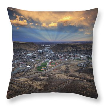 Rays Over Golden Throw Pillow