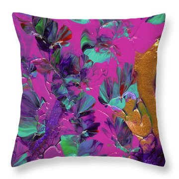 Razberry Ocean Of Butterflies Throw Pillow