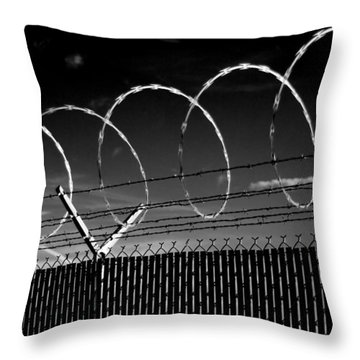 Razor Wire In The Sun Throw Pillow