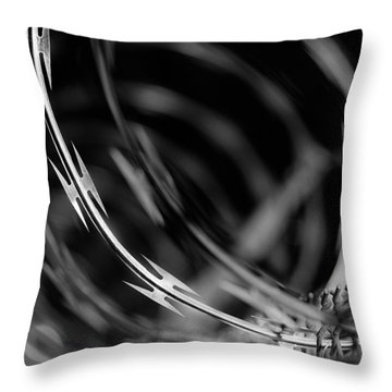 Razor Wire Up Close Throw Pillow