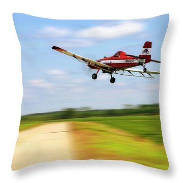 Razorback Flyby - Crop Duster - Ag Pilot Throw Pillow by Jason Politte