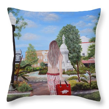 Razorback Swagger At Bentonville Square Throw Pillow by Belinda Nagy