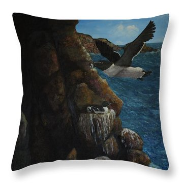 Razorbills Throw Pillow by Eric Petrie