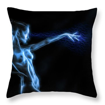 Reaching Figure Darkness Throw Pillow by Rikk Flohr