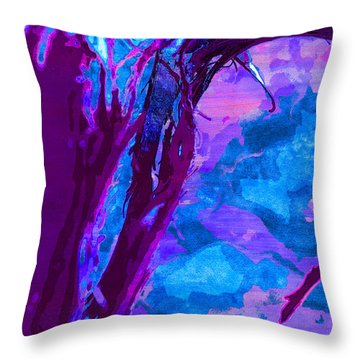 Reaching Into Blue Throw Pillow by Samantha Thome
