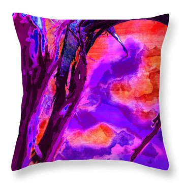 Reaching To Purple Clouds Throw Pillow