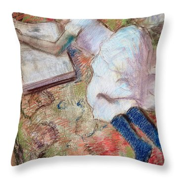 Reader Lying Down Throw Pillow by Edgar Degas