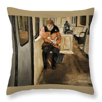 Reader On The Metro Throw Pillow
