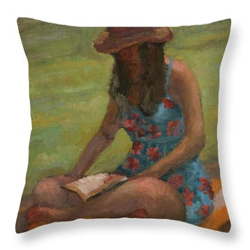 Reading At Jersey Valley Throw Pillow