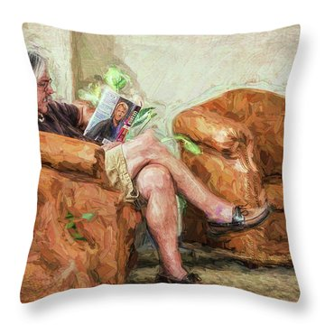 Throw Pillow featuring the photograph Reading At The Library by Lewis Mann