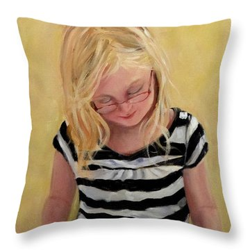 Reading Bee Throw Pillow by Carol Berning