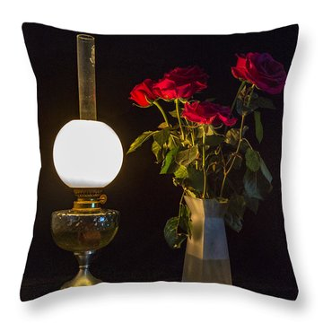 Throw Pillow featuring the photograph Reading By Oil Lamp by Brian Roscorla