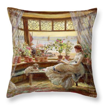 Reading By The Window Throw Pillow