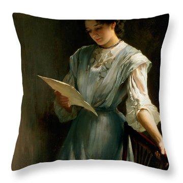 Reading The Letter  Throw Pillow by Thomas Benjamin Kennington