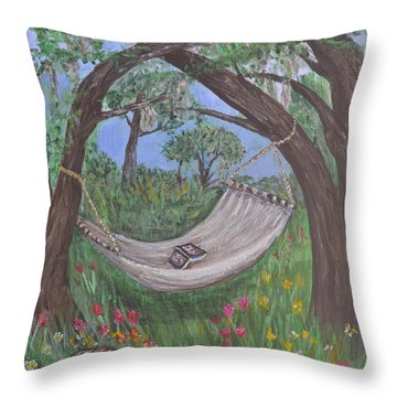 Throw Pillow featuring the painting Reading Time by Debbie Baker