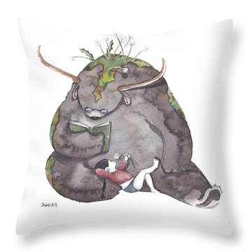 Reading Time Throw Pillow by Soosh
