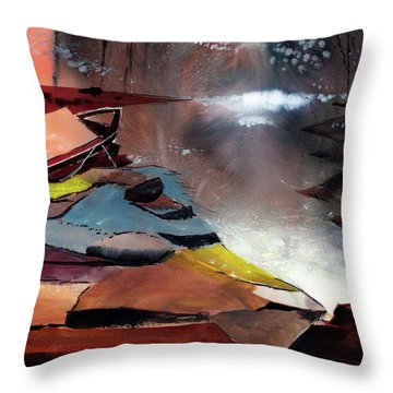 Throw Pillow featuring the painting Ready To Leave by Anil Nene