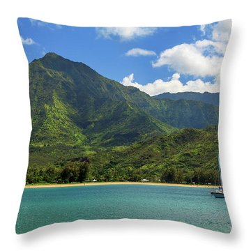 Ready To Sail In Hanalei Bay Throw Pillow