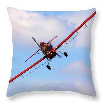 Throw Pillow featuring the photograph Ready To Spray - Crop Duster - Ag Pilot - Arkansas Razorbacks by Jason Politte