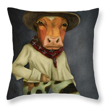 Throw Pillow featuring the painting Real Cowboy 2 by Leah Saulnier The Painting Maniac